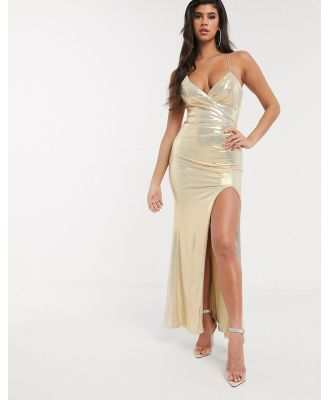 Bariano metallic cross over maxi dress in pale gold