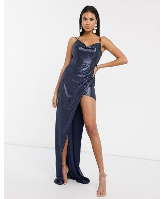 Bariano sequin cowl neck maxi dress in dark navy