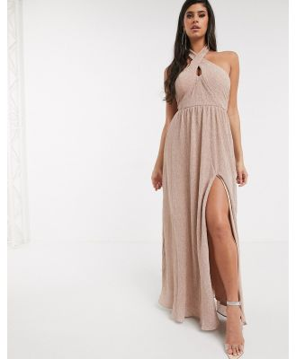 Bariano shimmer plisse halter neck maxi dress in caramel-Gold