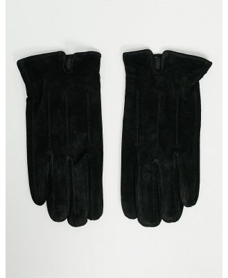 Barneys Original suede touchscreen gloves in black