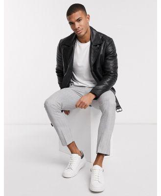 Barney's Originals biker leather jacket with belt and black trims