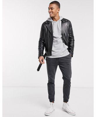Barney's Originals biker leather jacket with belt and silver trims-Black