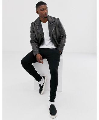 Barneys Originals distressed real leather zipped biker-Black