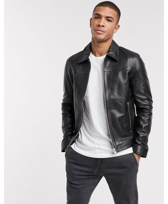 Barney's Originals leather jacket with collar detail and silver trims-Black