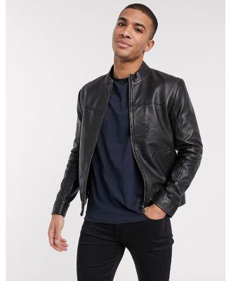 Barney's Originals racer leather jacket-Black