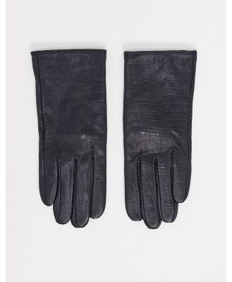 Barney's Originals real leather gloves in mock croc-Black