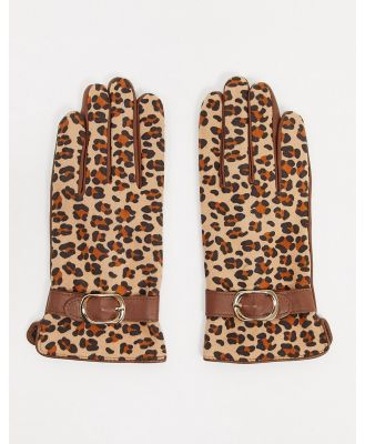 Barney's Originals real leather gloves with buckle detail in tan leopard