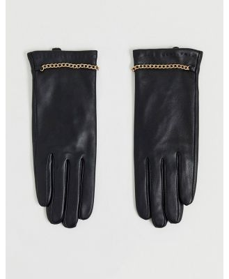 Barney's Originals real leather gloves with chain detailing-Black