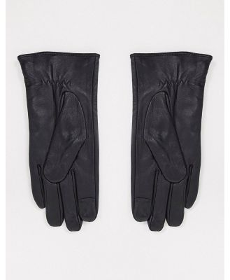 Barney's Originals real leather gloves with stud detail in black