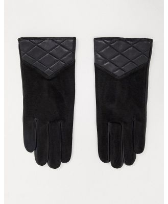 Barney's Originals real suede gloves with quilting in black