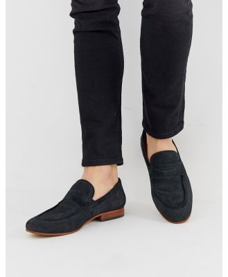 Base London Fleming embossed loafer in navy suede