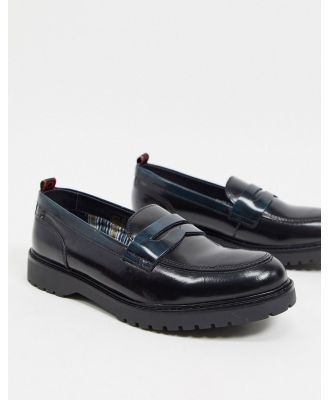 Base London gable penny loafers in black combo