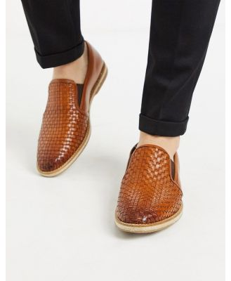 Base London woven loafers in tan leather