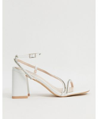 Be Mine Bridal Ambrose embellished strappy sandals in ivory satin-White