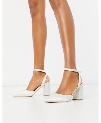 Be Mine Bridal Neima block heeled shoes in ivory satin-White