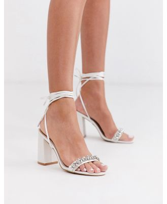 Be Mine Bridal Penelope heeled sandals with embellished strap in ivory satin-White