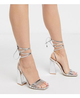 Be Mine Exclusive Amirah strappy ankle tie heeled sandals in silver