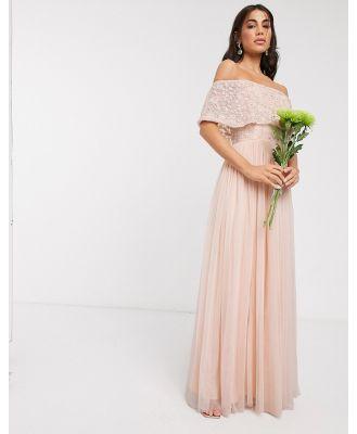Beauut embellished bardot maxi dress in soft apricot-Orange