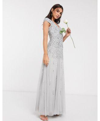 Beauut embellished maxi dress in light grey