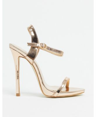 BEBO barely there heeled sandals in rose gold-Copper