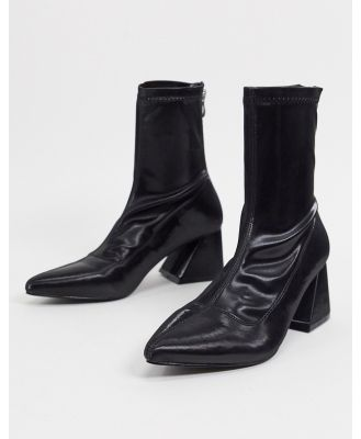 BEBO block heel sock boots in black