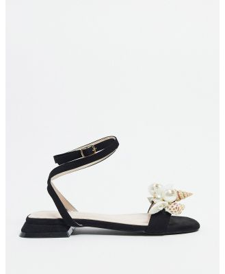 BEBO embellished tie leg sandals in black