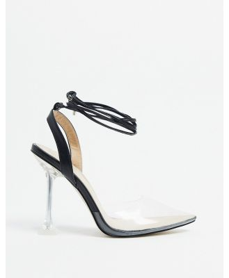 BEBO pointed clear heeled shoes in black