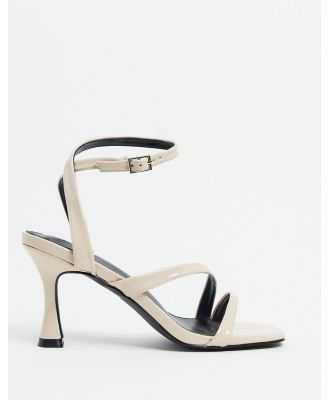 BEBO strappy square toe mid heeled sandals in beige