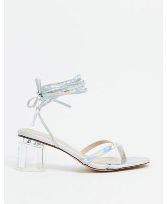 BEBO tie leg mid-heeled sandals in silver and clear