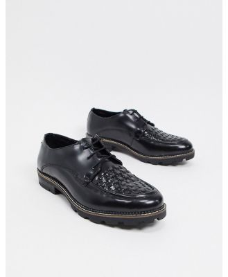 Ben Sherman chunky woven lace up shoes in black leather