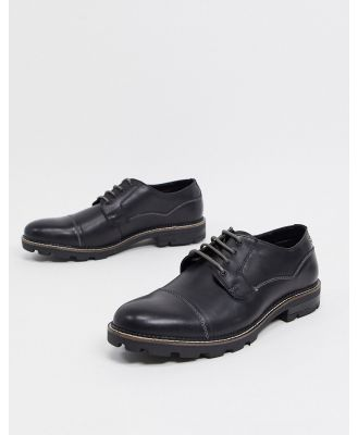 Ben Sherman cleated sole clean lace-up shoes in black leather