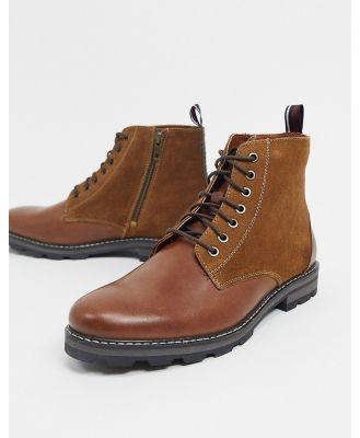 Ben Sherman lace up ankle boots in tan leather suede mix-Brown