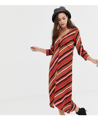 Bershka button front stripe scarf dress in multi