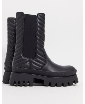 Bershka elasticated ankle boot with chunky sole in black