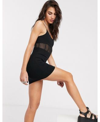 Bershka strappy mini dress with clear panel in black