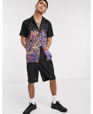 Blood Brother popper coaches shirt in all-over print-Purple