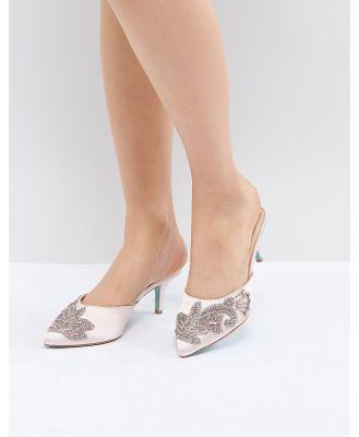 Blue By Betsy Johnson Blush Coset Embellished Heeled Wedding Mules-Pink