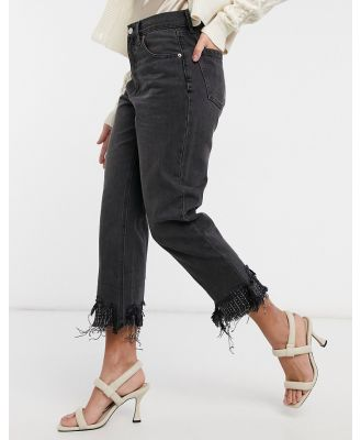 Blue Revival 90s crop straight leg jeans with beaded hem in faded black