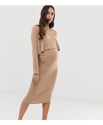 Bluebelle Maternity midi 2 in 1 dress in taupe - Pink