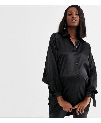 Blume Maternity oversized satin shirt in black