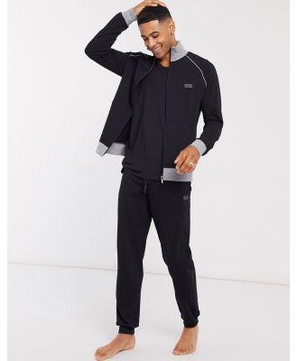 BOSS bodywear logo cuffed trackies in black