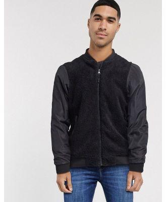 Brave Soul borg panel ma1 bomber jacket-Black
