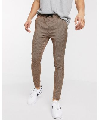 Brave Soul draw string pants small scale check-Brown