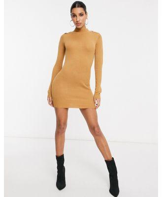 Brave Soul military jumper dress in camel-Brown
