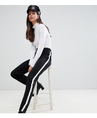 Brave Soul Tall band pants with side stripe - Black