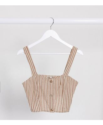 Brave Soul Tall carrie striped button through crop top-Brown