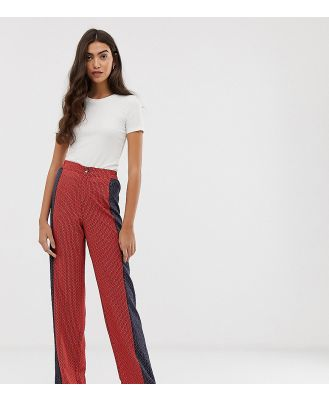 Brave Soul Tall wide leg pants in mix print - Red