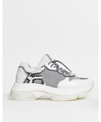 Bronx leather chunky sneaker in grey and snake-Multi