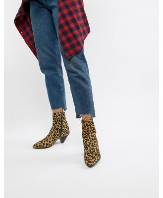 Bronx leopard print pony pointed heeled ankle boots - Multi