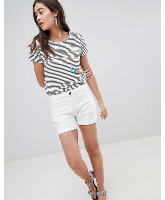 Brooklyn Supply Co Denim Shorts with Turn up and Stripe Tape - White